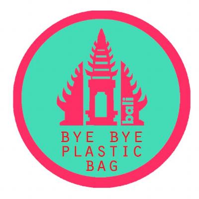 Logo of Bye Bye Plastic Bag - a balinese temple with bye bye plastic bag written beneath it.
