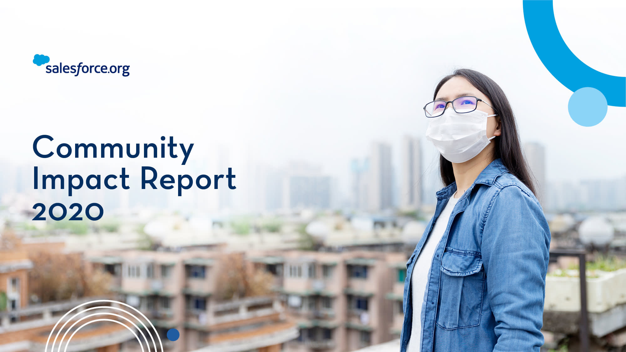 The cover of the the Salesforce.org Community Impact Report 2020 and the cover page of the FY20 Salesforce Stakeholder Impact Report