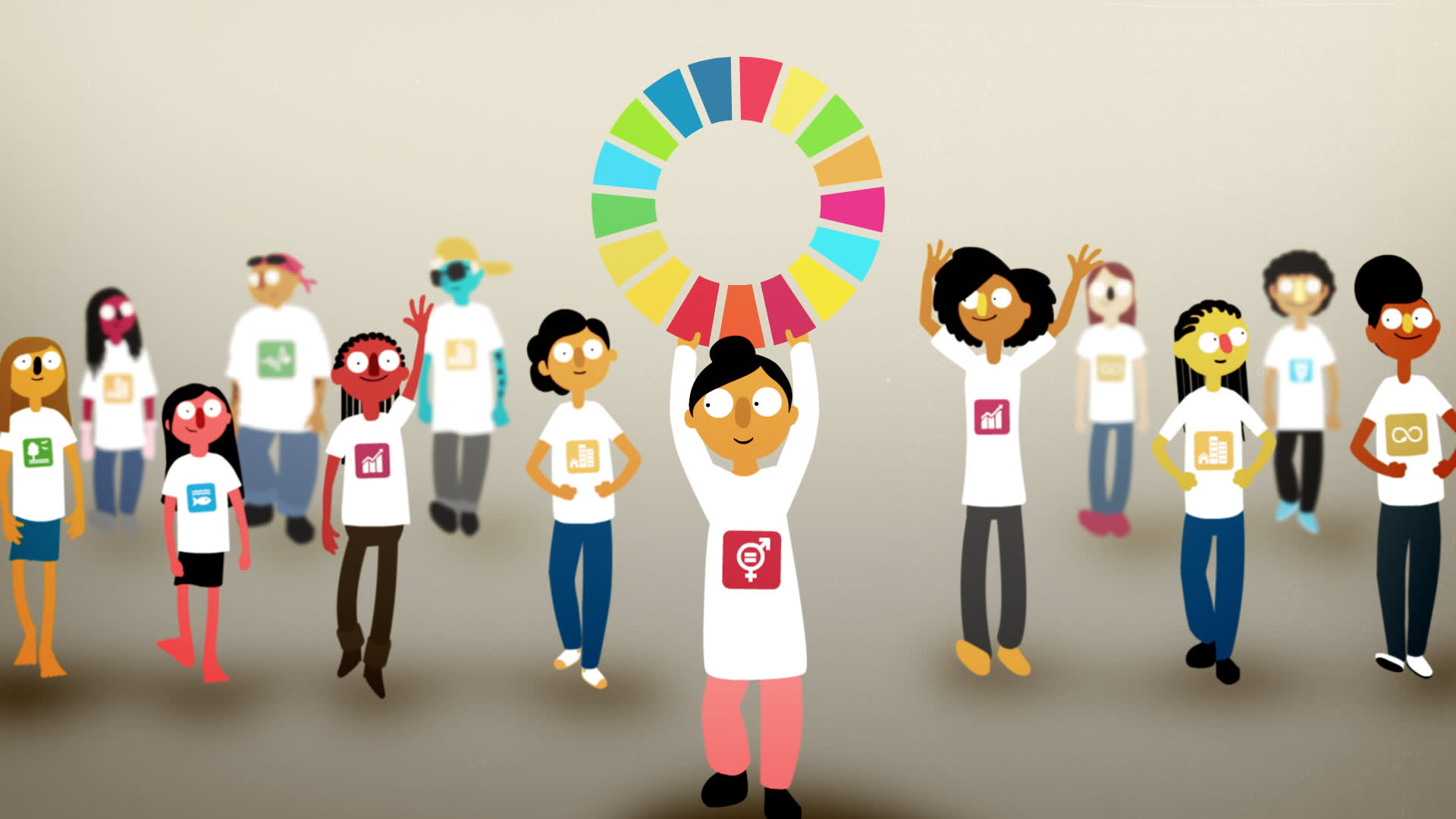 Cartoon young people wearing tshirts emblazoned with a Global Goal logo. A young girl holds the UN Sustainable Development Goals colour wheel above her head.