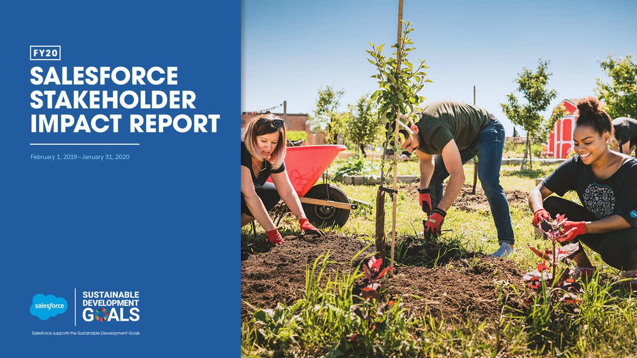 Capa do Relatório de Impacto na Comunidade da Salesforce.org de 2020 e página de rosto do Relatório de Impacto das Partes Interessadas da Salesforce para o ano fiscal de 2020
