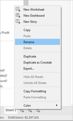 Context menu where you can rename the sheet