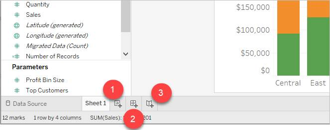 Lower-left portion of Tableau interfacing showing how to add a sheet, dashboard, or story