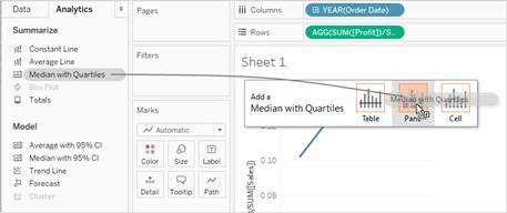 A Tableau Desktop snapshot of the Analytics pane, showing the Summarize area, Model area, and Custom area.