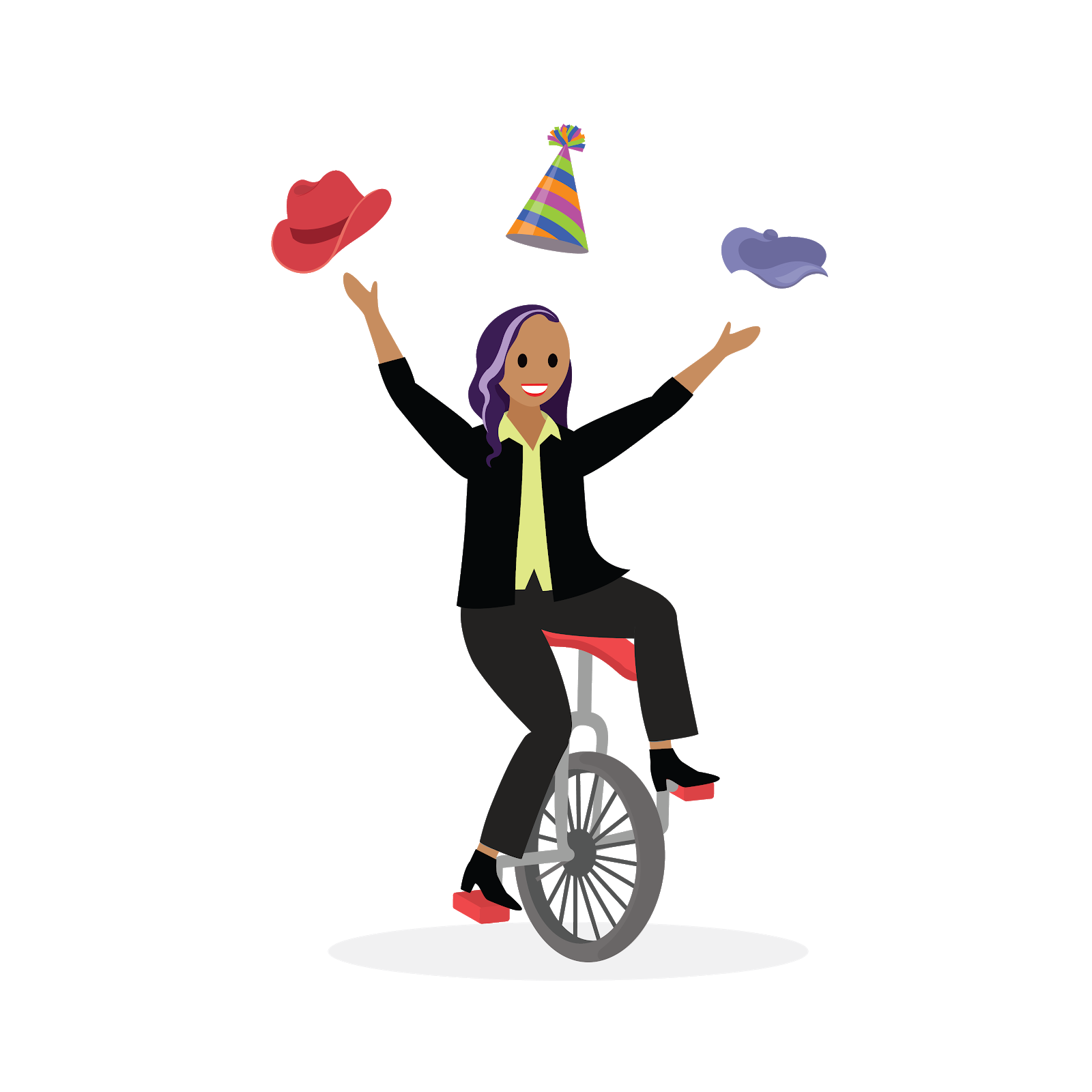 A mentee juggling three different hats while riding a unicycle.