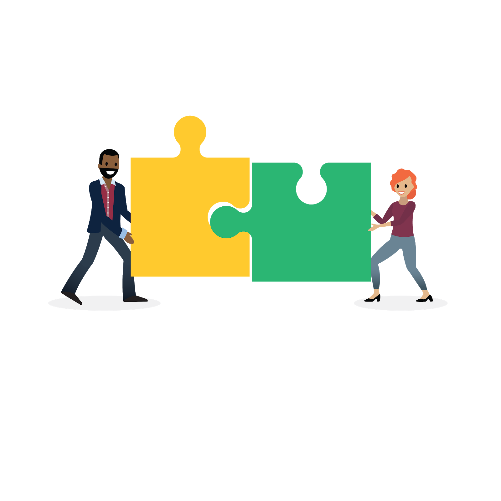 A mentor and mentee pushing together two oversized puzzle pieces to signify their partnership.