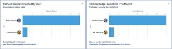 Two Trail Tracker reports: Trailhead Badges Completed by User and Trailhead Badges Completed This Month. Both reports display a horizontal bar chart with Record Count on the X axis and Users on the Y axis.