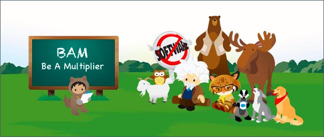 「BAM: Be a Multiplier (掛け算方式を採用しよう)」と書かれた黒板の前で 10 人の友人に教えている Astro。