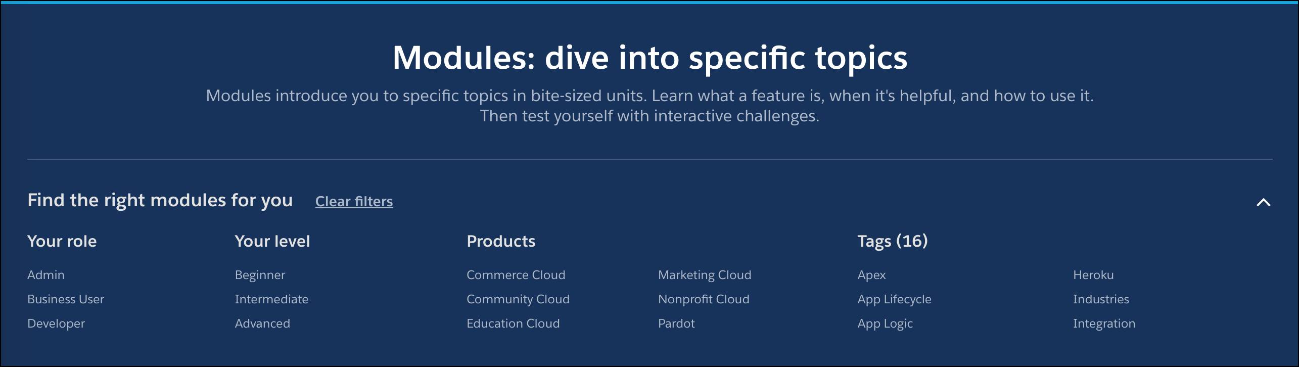 The filters for role, level, product, and topic at the topic of the all modules page.