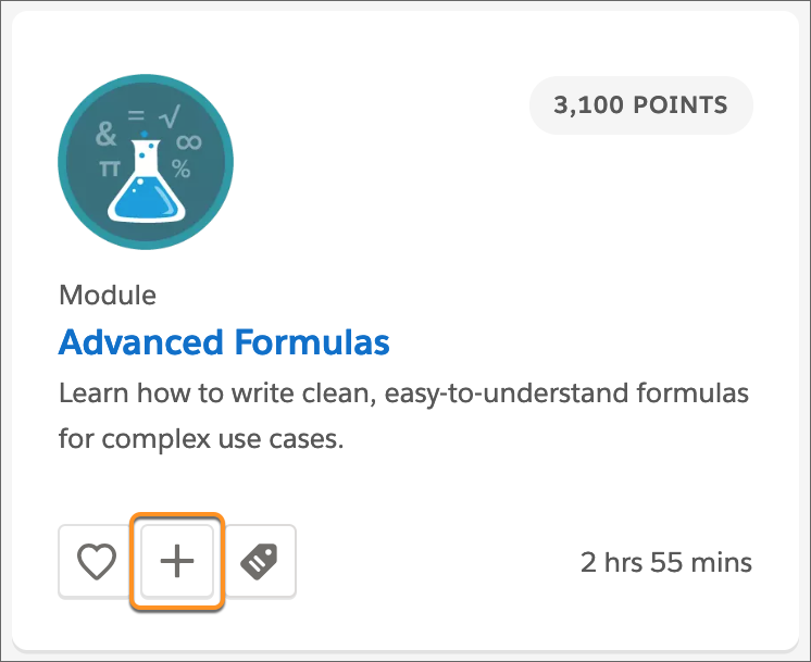 The Advanced Formulas module tile, with all callout around the Add to Trailmix (plus sign) button.