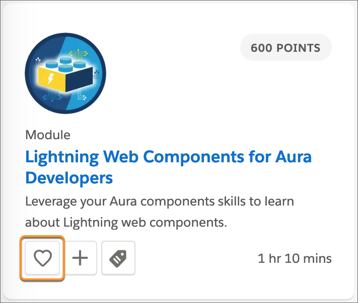 The Lightning Web Components for Aura Developers module tile, with all callout around the Favorite (heart) button.
