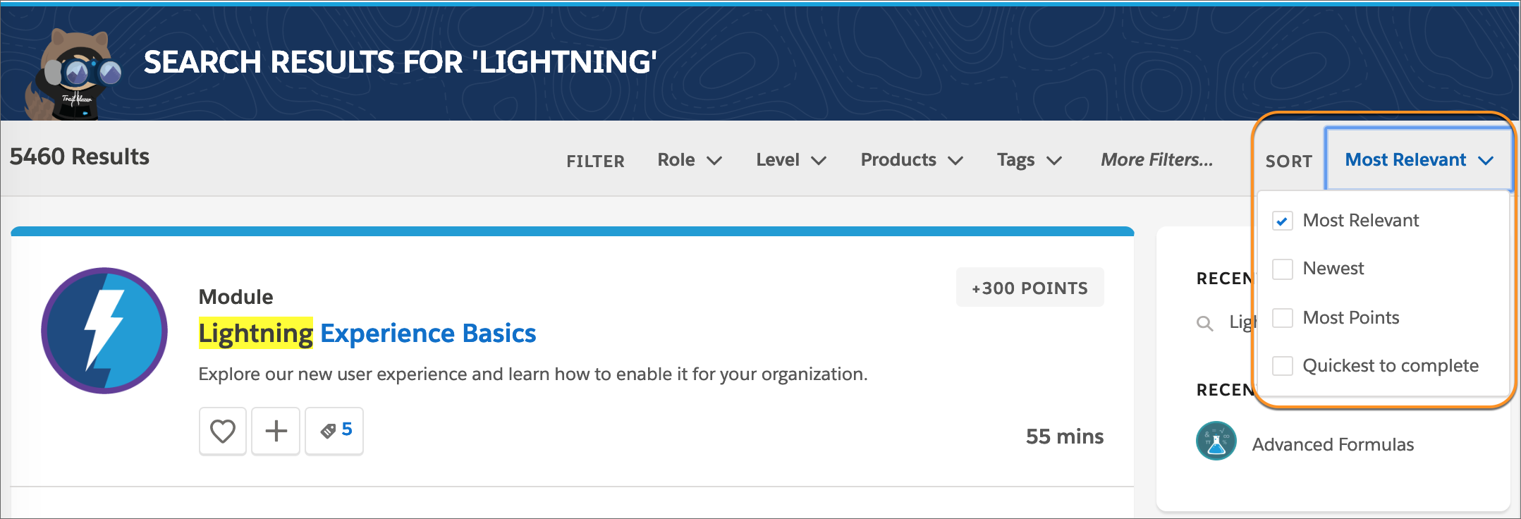 """The search results page for """"Lightning"""", with a callout around the sort dropdown and Most Relevant selected."""