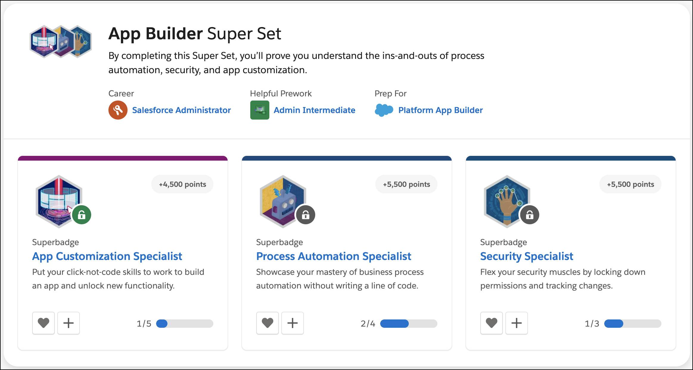 The superbadges page in Trailhead, showing a selection of superbadges.