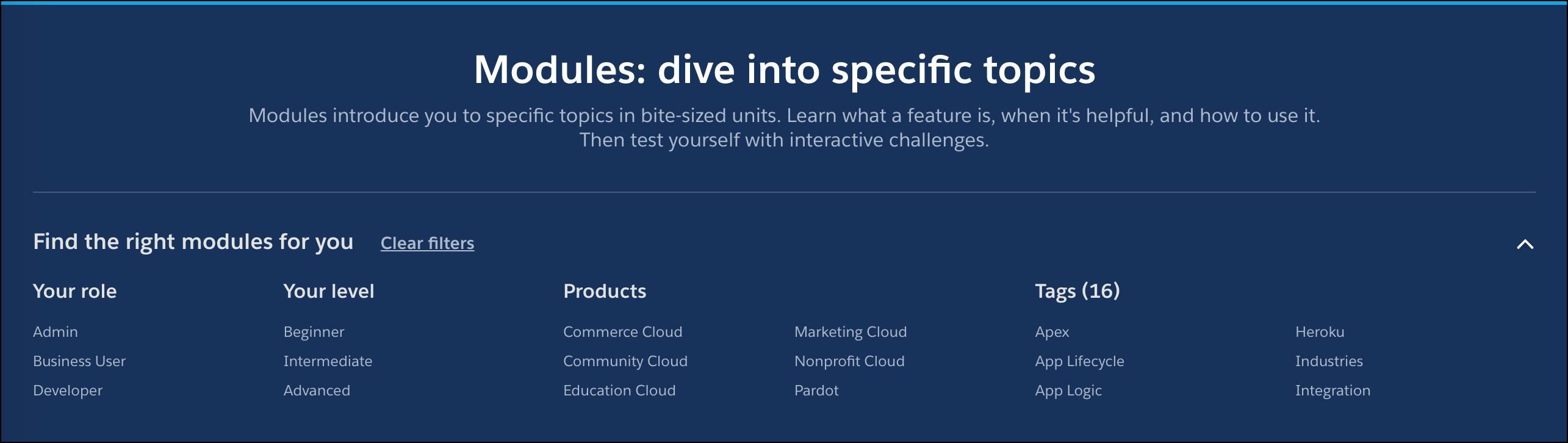 Los filtros para función, nivel, producto y tema en el tema de la página de todos los módulos.