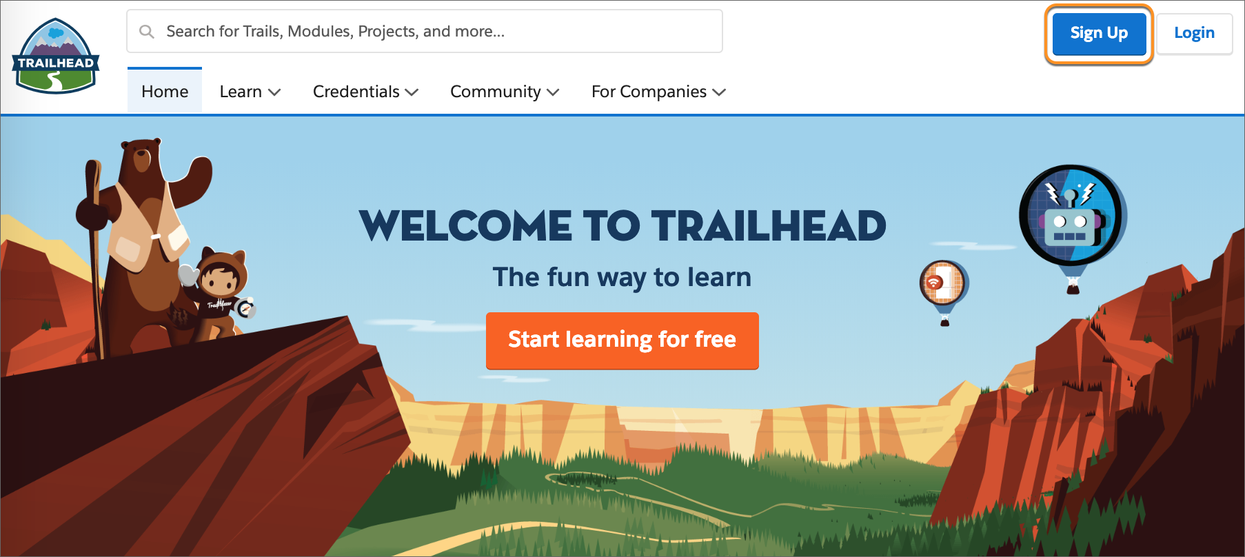 The Trailhead welcome page, with the Sign Up button called out.
