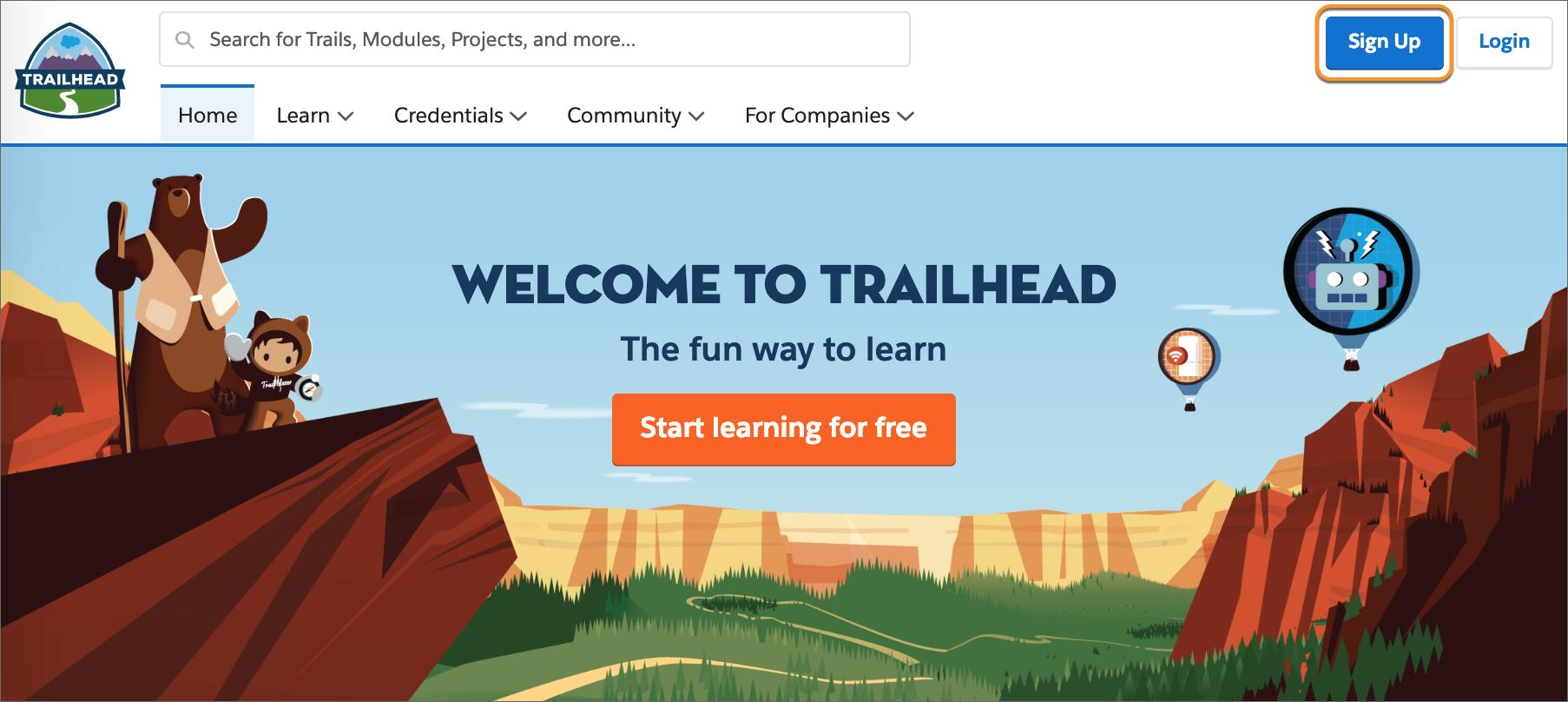 La página de bienvenida de Trailhead con el botón de inscripción resaltado.