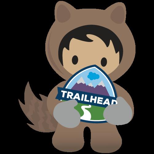 Astro sujetando el logotipo de Trailhead.