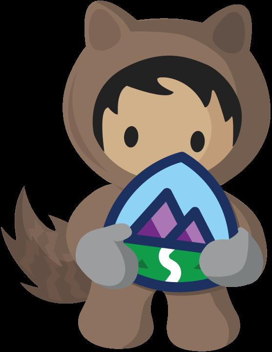Astro segurando o logotipo do Trailhead.