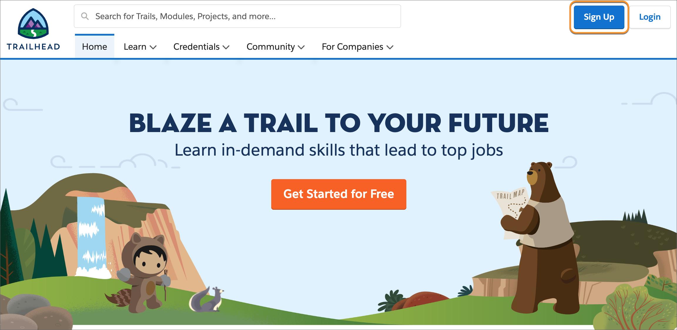 A página de boas-vindas do Trailhead, com o botão Inscrever-se em destaque.