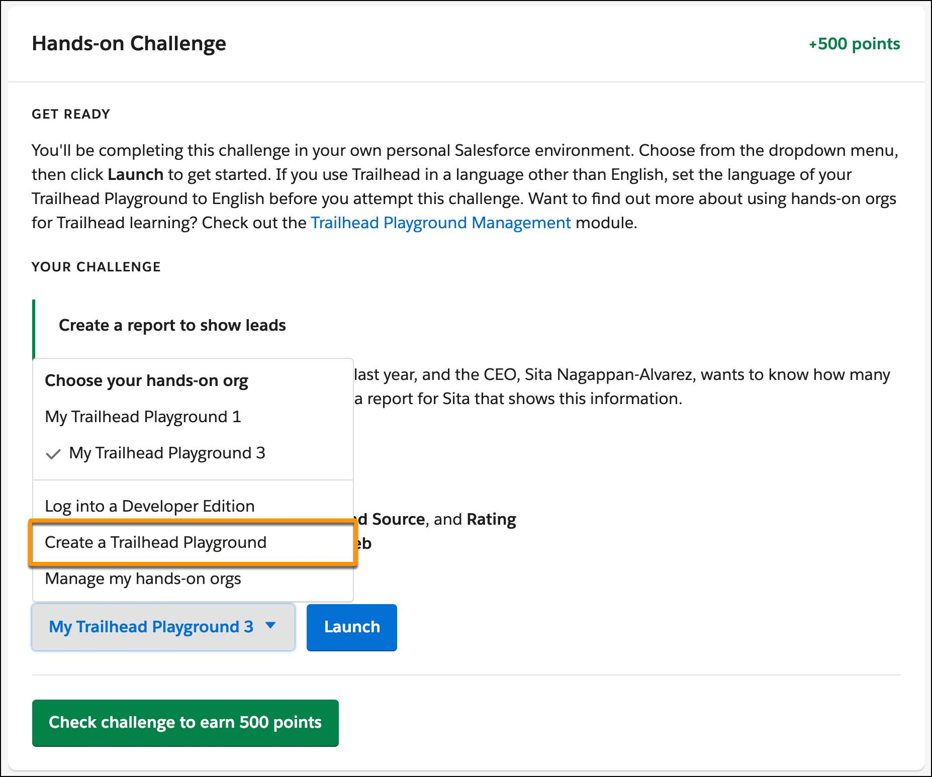 The org selection dropdown in a hands-on challenge, with Create a Trailhead Playground called out