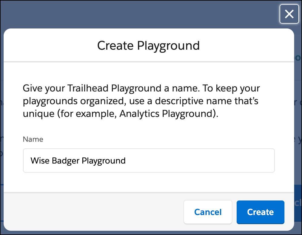The Create Playground modal