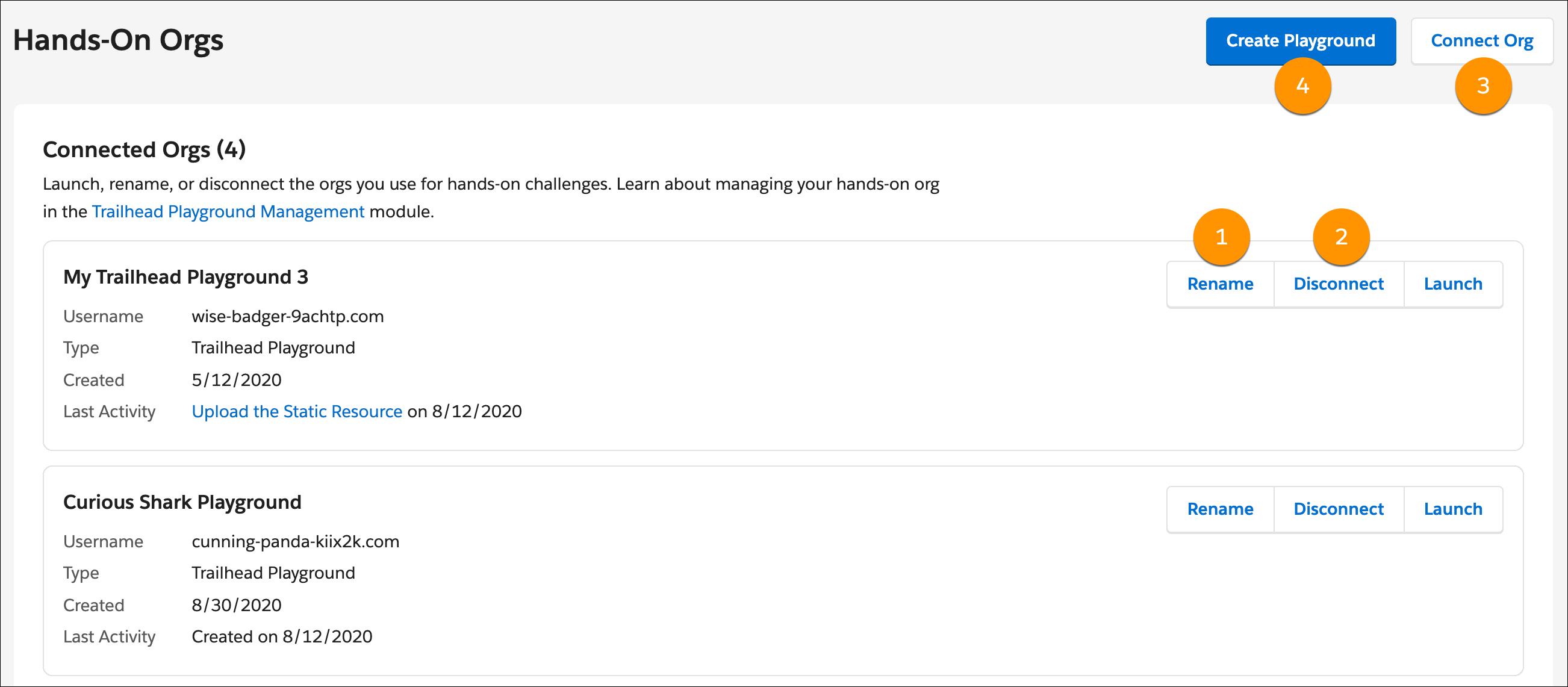 La página de gestión de organización, con una llamada a los botones Cambiar nombre, Conectar organización y Crear Playground