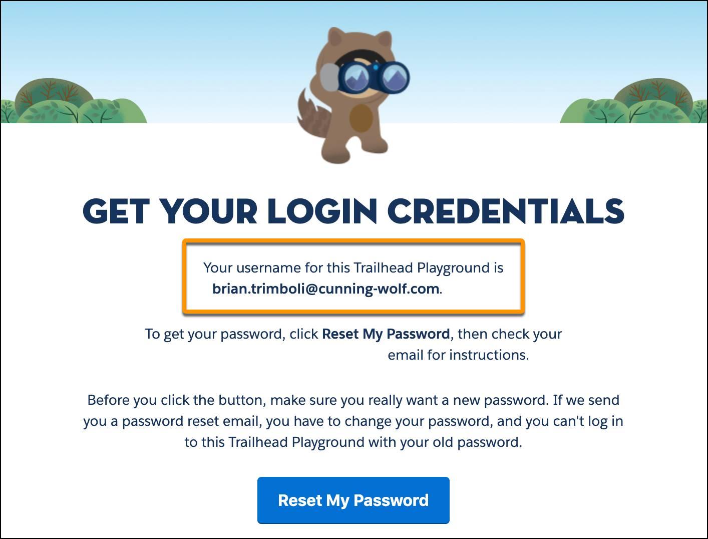 Trailhead のヒントアプリケーションの [Get Your Login Credentials (ログイン情報の表示)] ページ。ユーザ名が赤い線で囲まれています。