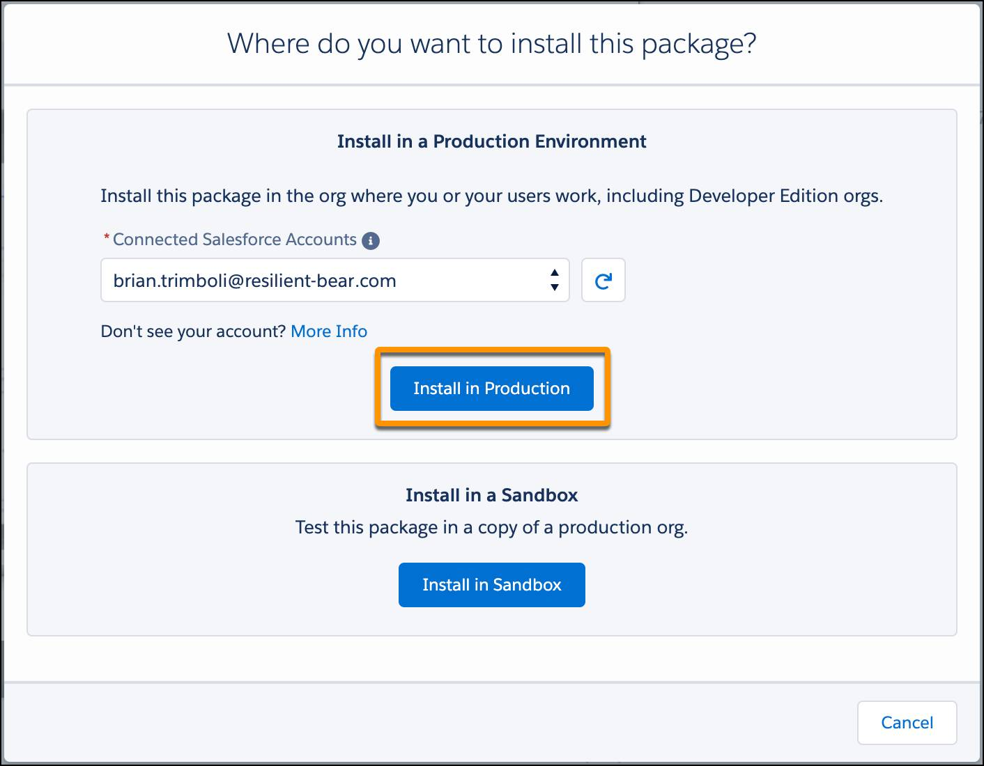 The Where do you want to install this package dialogue in AppExchange, with a Trailhead Playground selected and the Install in Production button called out.