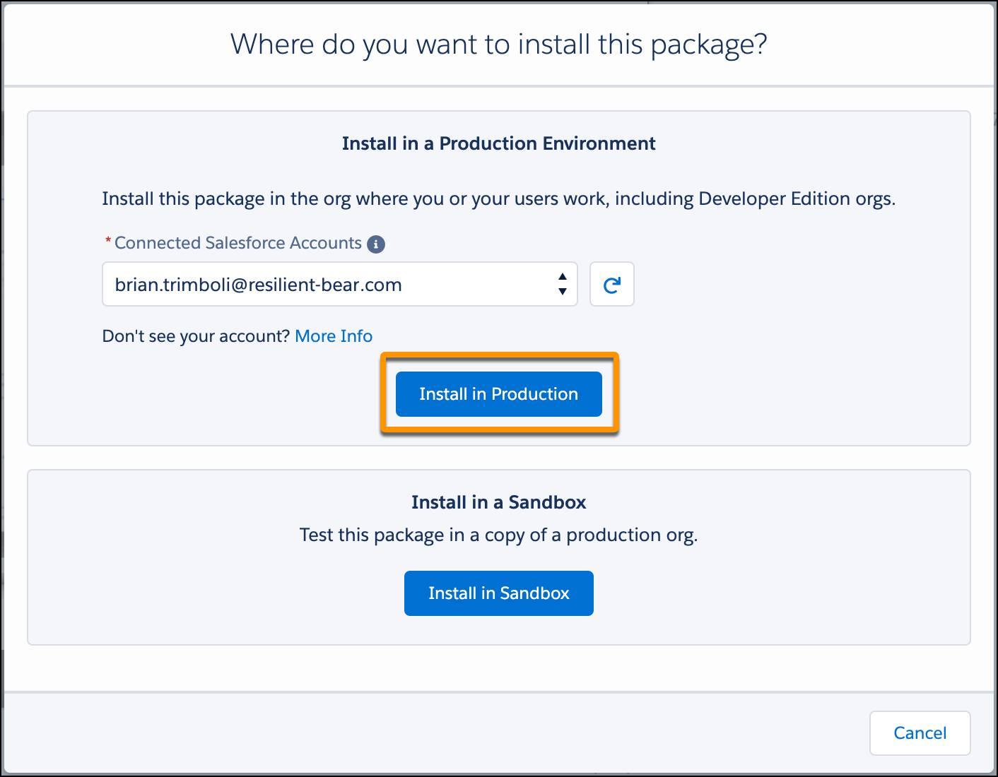 El diálogo Dónde desea instalar este paquete en AppExchange, con un Trailhead Playground seleccionado y la llamada al botón Instalar en producción.