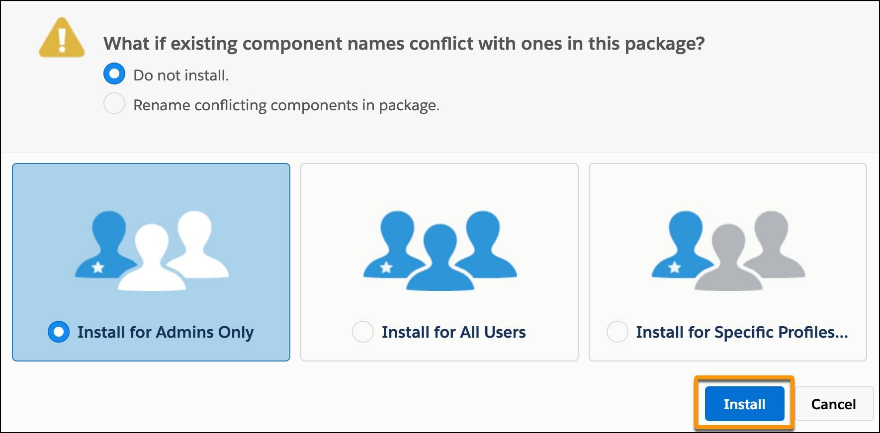 La pantalla de instalación de paquete, con Instalar solo para administradores seleccionado y una llamada al botón Instalar