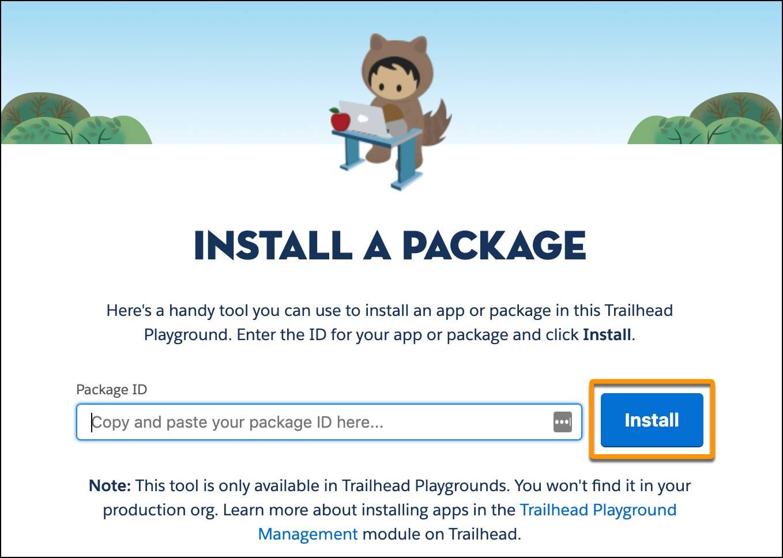 La ficha Instalar un paquete en la aplicación Trailhead Tips