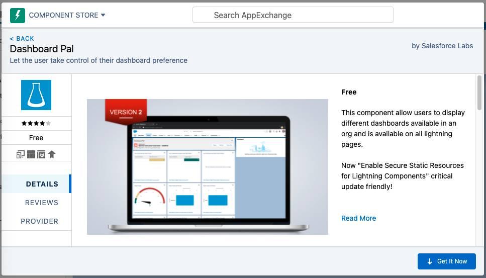 AppExchange のDashboard Pal アプリケーション