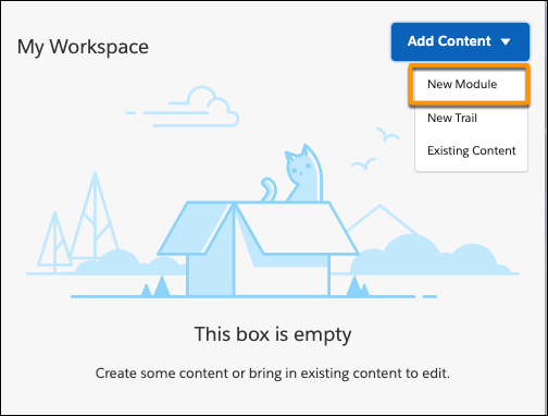 Workspace in Trailmaker Content, highlighting the New Module entry in the picklist for the Add Content button