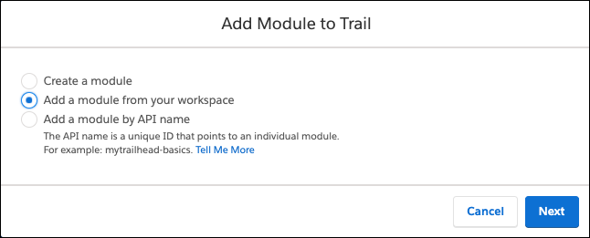Add Module to Trail window, showing Add a module from your workspace selected