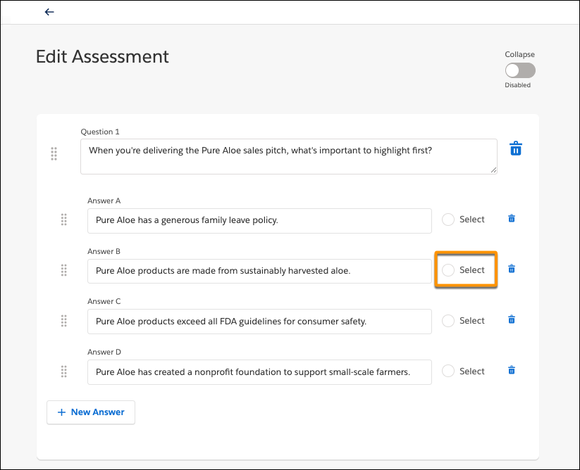 Edit Assessment page, showing quiz question with four answers and highlighting the Select radio button for the correct answer