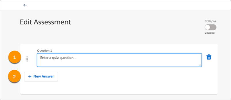 Edit Assessment page, showing the Question field and New Answer button