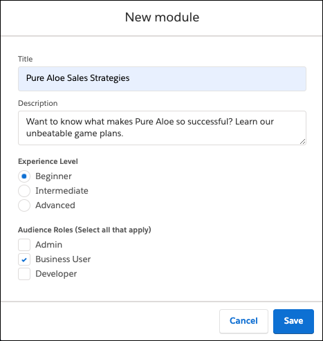 New module window in Trailmaker Content, filled out for Pure Aloe Sales Strategies
