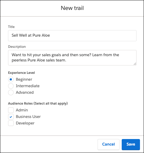 New trail window in Trailmaker Content, filled out for Sell Well at Pure Aloe