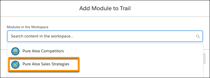 Add Module to Trail window, showing the list of modules in the workspace