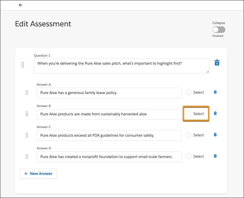 4 つの答えがあるテストの質問が表示され、正解の [Select (選択)] ラジオボタンが強調表示されている [Edit Assessment (評価の編集)] ページ
