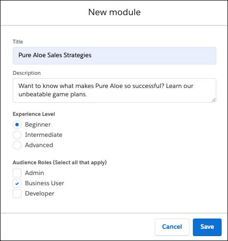 「Pure Aloe Sales Strategies (Pure Aloe の営業戦略)」について入力された Trailmaker Content の [New Module (新規モジュール)] ウィンドウ