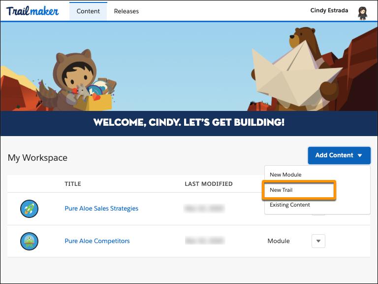 [Add Content (コンテンツの追加)] ボタンの選択リストで [New Trail (新規トレイル)] が強調表示されている Trailmaker Content のワークスペース