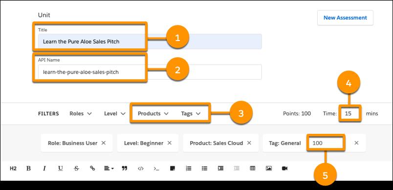 [Title (タイトル)]、[API Name (API 参照名)]、[Time (時間)] の各項目、[Products (製品)] と [Tags (タグ)] の選択リスト、タグのポイント項目が表示されている、「Learn the Pure Aloe Sales Pitch (Pure Aloe のセールスピッチを学ぶ)」の [Unit (単元)] ページヘッダー