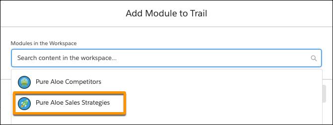 ワークスペースのモジュールのリストが表示されている [Add Module to Trail (モジュールをトレイルに追加)] ウィンドウ