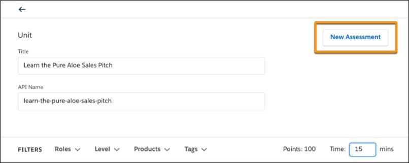 Cabeçalho da página da unidade com botão Nova avaliação destacado
