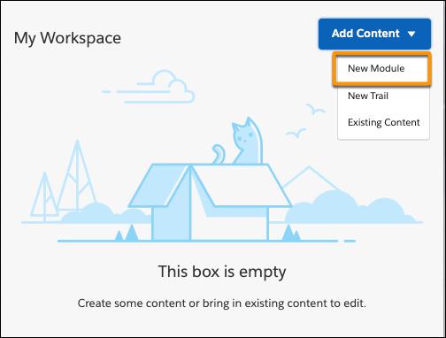 Espaço de trabalho no Trailmaker Content, destacando a entrada Novo módulo na lista de opções do botão Adicionar conteúdo