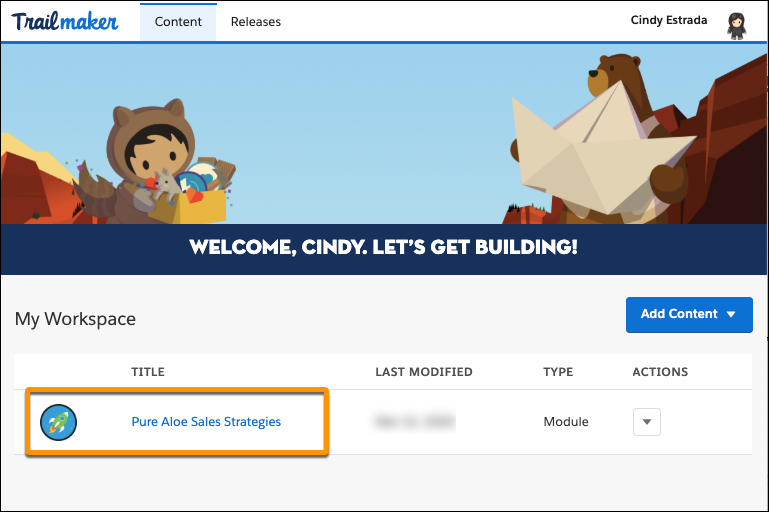 Workspace in Trailmaker Content, highlighting the module title Pure Aloe Sales Strategies