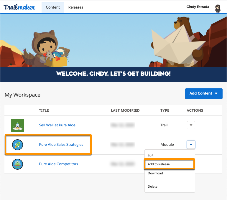Workspace in Trailmaker Content, highlighting Add to Release in the Actions menu for Pure Aloe Sales Strategies