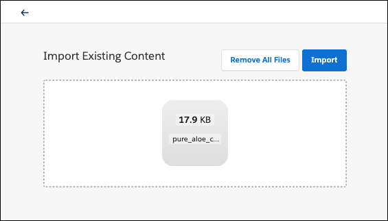Import Existing Content field, showing a backpack to import