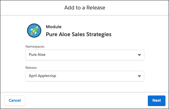 Add to a Release window, showing the Namespace and Release fields