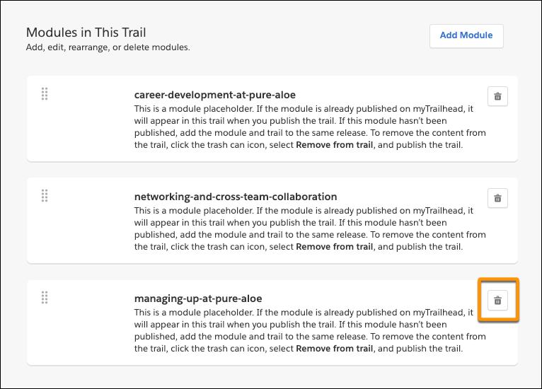 Die Seite des Trails 'Navigate Your Pure Aloe Career' mit Hervorhebung des Löschsymbols für das Modul 'Managing Up at Pure Aloe'